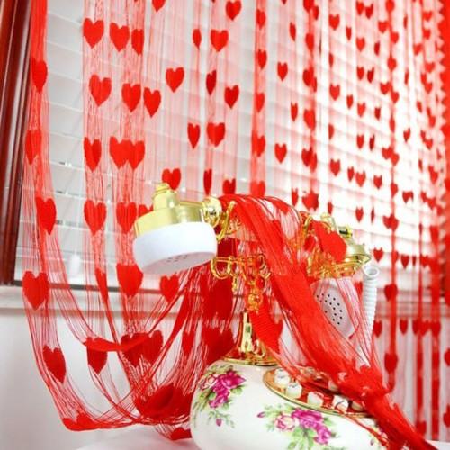 100*200cm Door Window Curtain Heart Design Wedding Bedroom Living Room Partition Decoration
