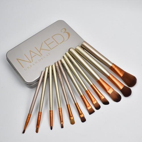 12pcs Aluminum Box Makeup Brushes Set Eye Shadow Lip Gloss Eye Makeup Portable Beauty Tools