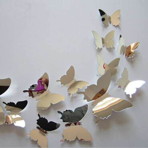 New Arrive Mirror Sliver 3D Butterfly Wall Stickers Home Decorations 12pcs/set