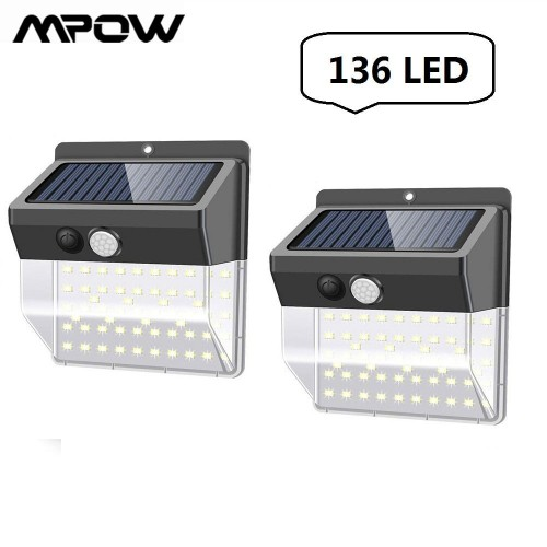 2Pcs 136 LED Solar Motion Sensor Wall Light  Waterproof 3 Lighting Modes For Gates Courtyard