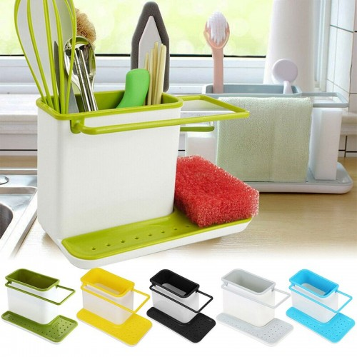 3 In 1 Sink Tidy Cleaning Caddy Bath Perfect Base Kitchen Brush Sponge Sink Draining Towel Rack