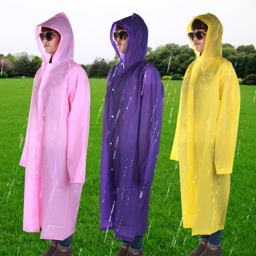 Adult Hooded Raincoat Waterproof Rain Jacket Coat Long