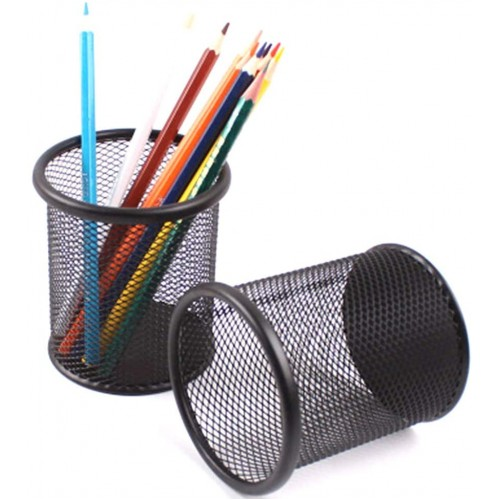 2Pc Black Metal Stand Mesh Style Pen Pencil Ruler Holder Desk Organizer Storage