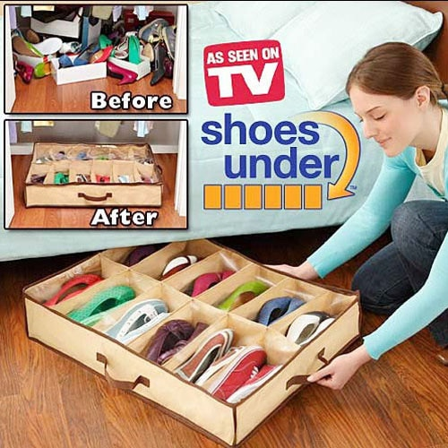 12 Shoes Or Slippers Closet Organizer Home Living Room Under Bed Storage Holder Box