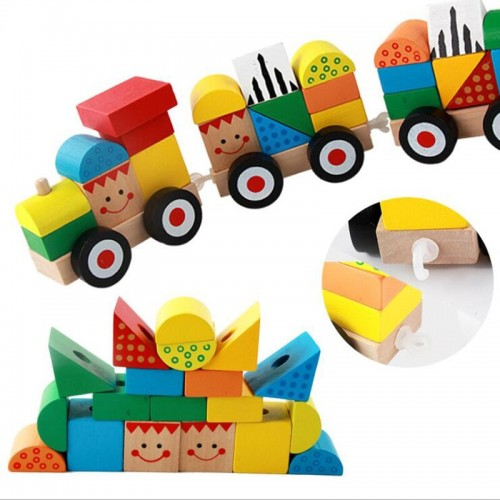 Wooden Hauling Three Section Building Blocks Towering Train