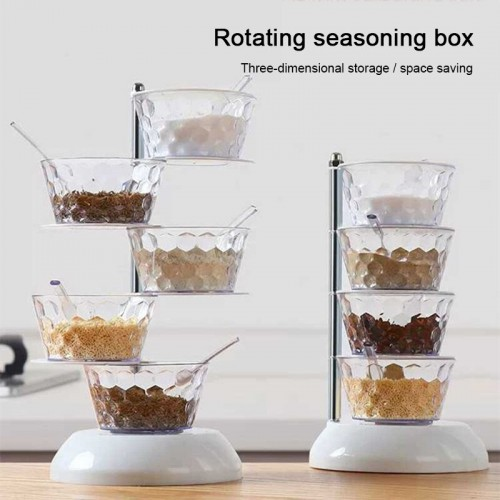 Kitchen Crystal Rotatable Seasoning Box Creative Multi-Layer Kitchen Gadget