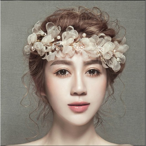 Floral Pearl Rhinestone Handmade Hairband