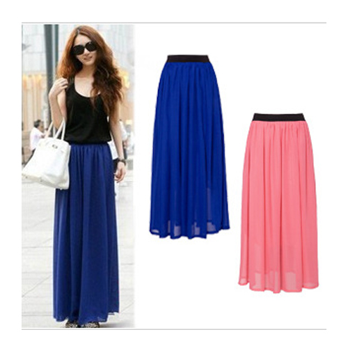 Fashion Pleated Chiffon High Quality High Waist Long Skirt for Women