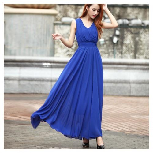 Chiffon Long Dresses Sleeveless V-neck