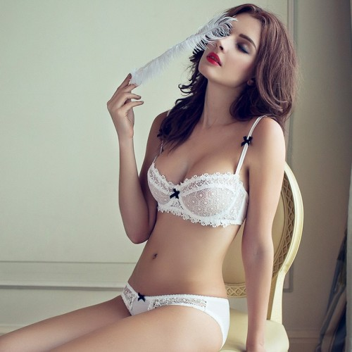 Women Half Cup Lace Ultra-thin Plunge Bra Briefs Set