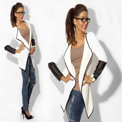 Woman Cardigan Jacket with Faux Leather Sleeve