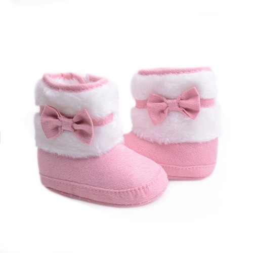 Knitting Hand-made Bowknot Fleece Snow Boots For Baby Girl Boy Anti-silp Prewalker Booties Baby Shoes 0-18 Months
