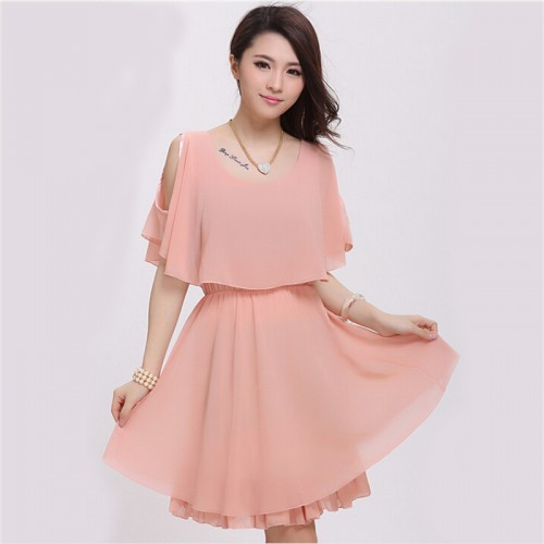 Cut Shoulder Chiffon Dress Casual Faux Twinset Style