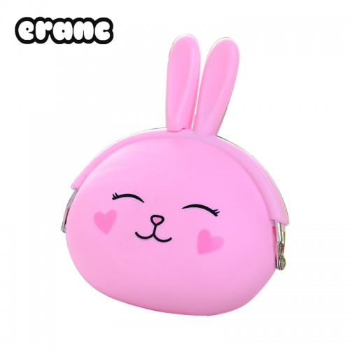 Coin Purse Lovely Cartoon Rabbit Pouch Girls Small Wallet Soft Silicone Coin Bag Kid Gift