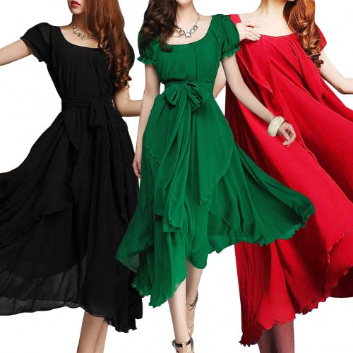 Big Hem Lotus Leaf Long Dress With Belt