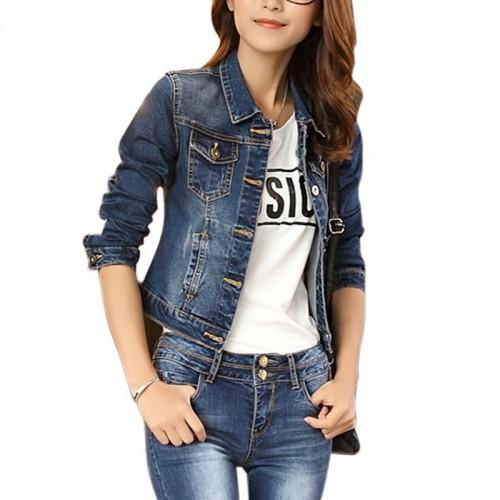 Women Korean Short Casual Long Sleeve Outerwear Denim Jeans Jacket