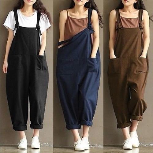 Womens Casual Loose Linen Pants Cotton Jumpsuit Strap  Overalls Loose Harem Pants Trousers