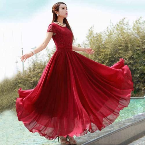 Lace Chiffon Bohemian Solid Long Dress