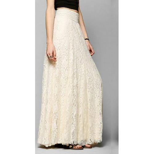 Fashion Womens Lace Double Layer Elastic High Waist Elegant Ladies Long Skirt