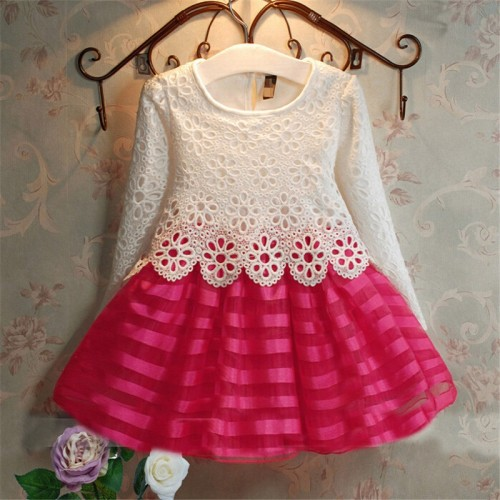 Girls Party Clothes 2-6 Years Long Sleeve Crochet Lace Tutu Princess Dress
