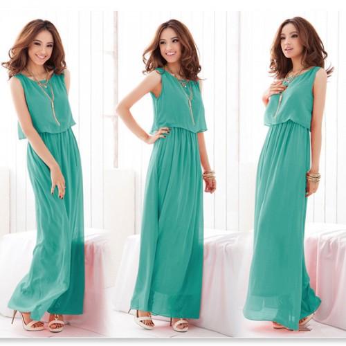 Women Boho Sleeveless Chiffon Summer Casual Long Maxi Dress Dress