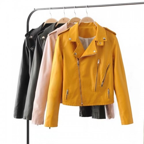 Spring Leisure Solid Pu Leather Handsome Woman Zipper Locomotive Jackets