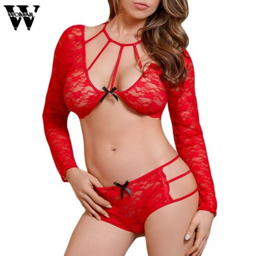 Women Lace Long Sleeveless Underwear Lingerie Set