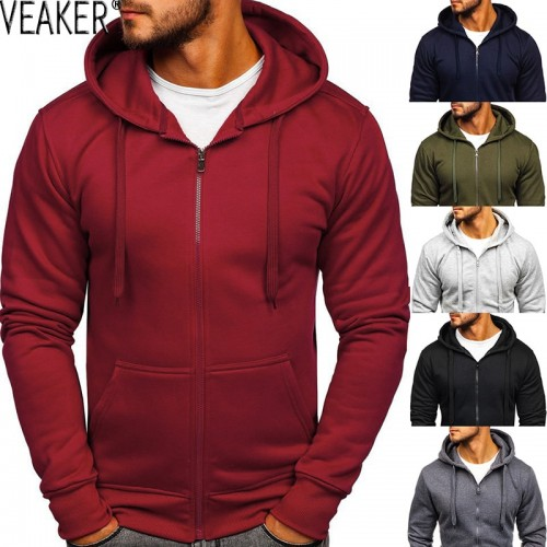 Men's Casual Zipper Hoodies Sweatshirts Male black Green Solid Color Hooded Outerwear Tops