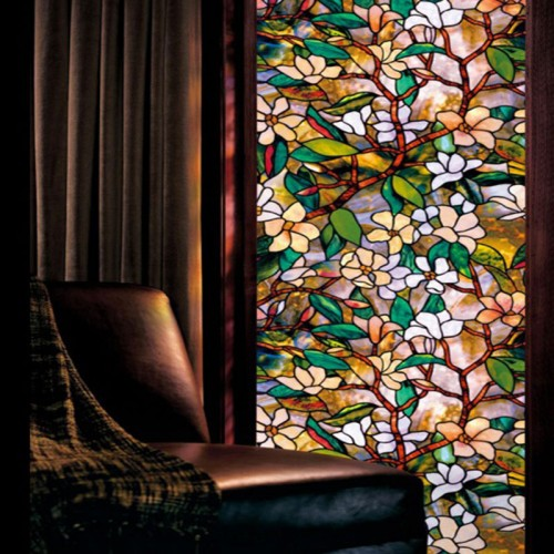New Static Cling Stained Glass Window Film Leaf Grape Magnolia Orchid Flower Cobblestone