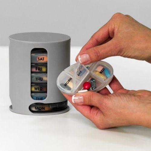 Pro Pill Box 7 Days Medicine Container Round Case Dispenser