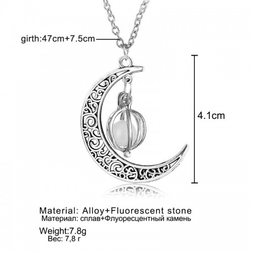 Vintage Luminous Moon Glow In The Dark Necklace Fashion Pendant Women Jewelry
