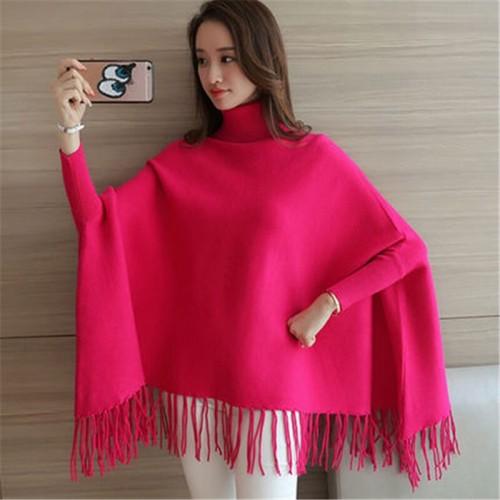 Women Poncho Coat Solid Elegant Pullover Female Jumper Irregular Tassel