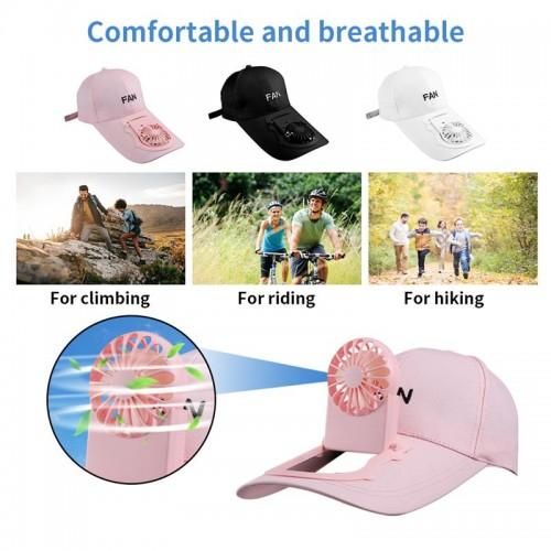 Unisex USB Charging Fan Hat Sports Adjustable Sunscreen Baseball Cap With Mini Cooler Fan