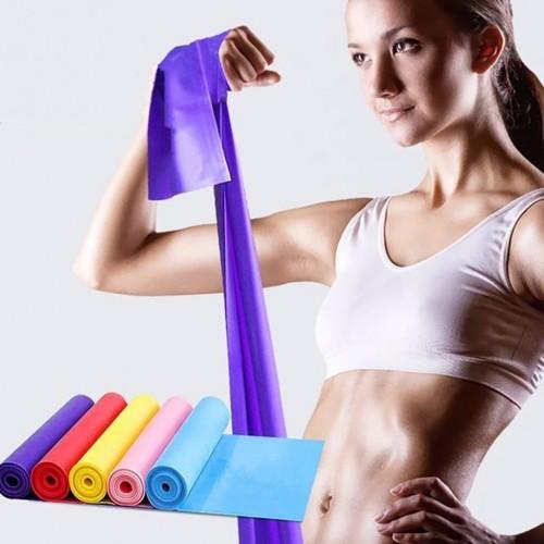 5pcs Strap Elastic Yoga Pilates Stretch Resistance 1.5m Long Exercise Fitness Band Belt Gym Fitness
