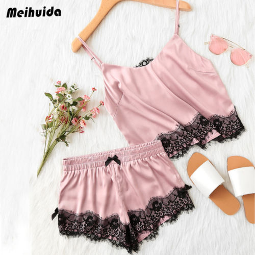 2PCs Summer Women Sleeveless Lace Tops Shorts Sleepwear Deep V Sling Lingerie Ladies Clothes Solid Pink Set