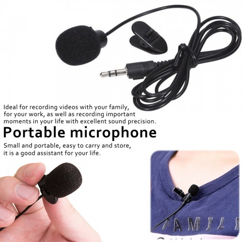 Mini Portable Microphone Condenser Clip On Mic Wired For Phone Pc
