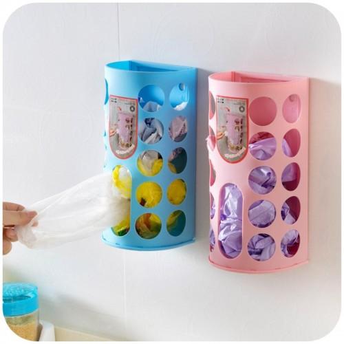 2pcs Household Garbage Bags Storage Box Plastic Bag Holder Organizer Wall Mounted