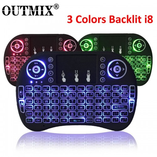 3 Colors Backlit Mini Wireless Keyboard 2.4ghz With Touchpad Remote Control