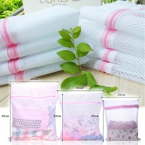 Pack of 3 Different Sized Zippered Mesh Laundry Wash Bags for Delicates Lingerie Socks Underwears