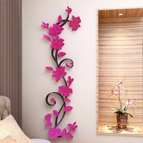 3D Crystal Wall Stickers Romantic Rose Flower Wall Sticker Removable Decal Room Home  Decoration