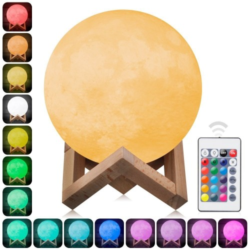 16CM 3D Moon Lamp Night Light Remote Control 16 Colors Change Optical Illusion LED Lunar Globe Ball