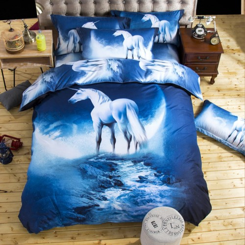 3D Bedding Sets Universe Outer Space Blue Galaxy New 3pcs Quilt Duvet Cover Bed