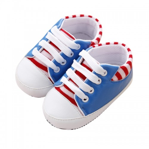 4 Color Cute New Infant Toddler Baby PU Striped Sneakers Boys and Girls Soft Sole Non Slip Shoes