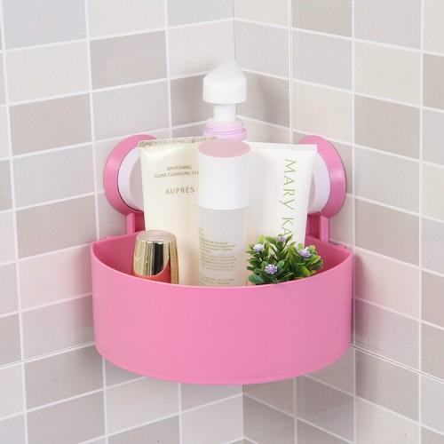 Plastic Suction Cup Storage Kitchen Corner Organizer Bathroom Shower Wall Shelf Sucker