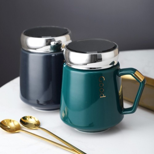 430ml Unique Nordic Ceramic Water Cup Coffee Mug With Handle And Mirror Lid