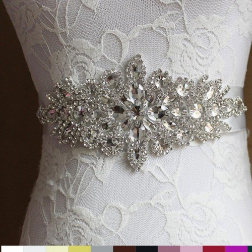 5 Colors Women Elegant Rhinestone Satin Ribbon Bridal Belts Party Bride Bridesmaid Belt Dress Cummerbunds Waistband