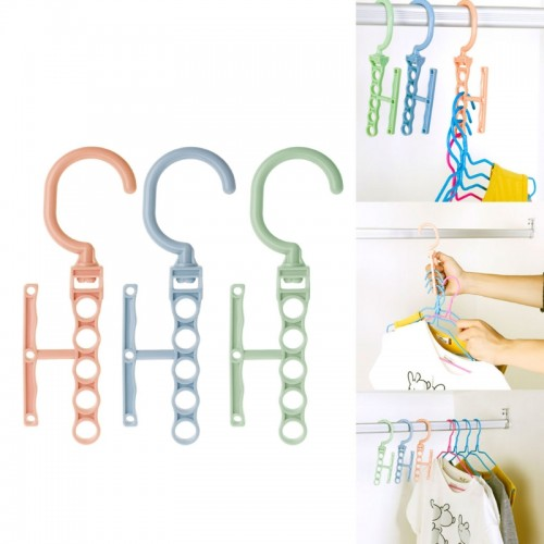 5 Holes Clothes Hanger Organizer Multifunction 360 Rotating Rack With Handle
