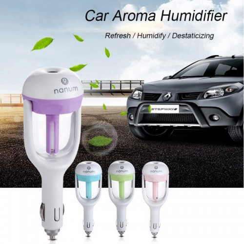 Humidifier For Vehicle Car Charger Water Soluble Oil Aroma Diffuser Mini Electric Ultrasonic Air Humidifier