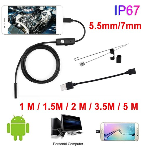 3.5M 7mm Endoscope Camera HD With 6 LED Soft Cable Waterproof Inspection Borescope For Android PC