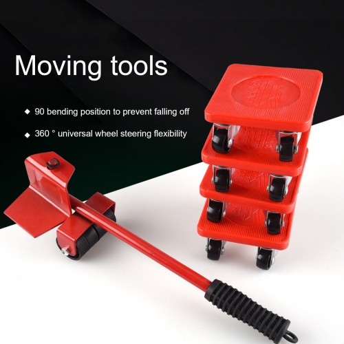 5Pcs Furniture Transport Roller Set Removal Lifting Moving Tool Heavy Object Mover